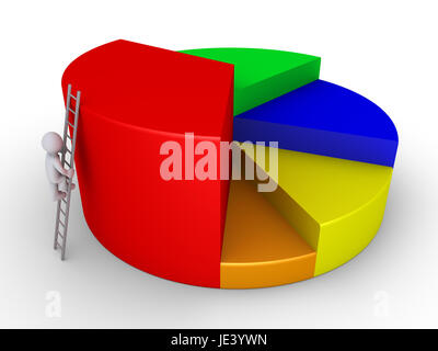 3d businessman is climbing ladder to the top of pie chart - Stock Photo