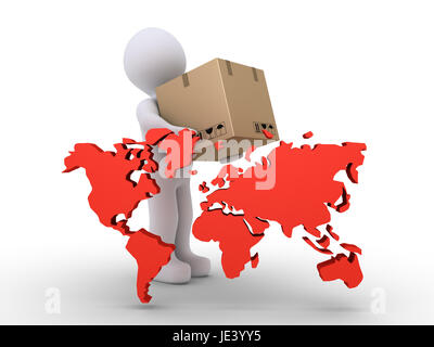 3d person holding a packet is behind the world map - Stock Photo