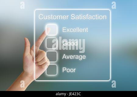 hand clicking customer satisfaction on virtual screen interface - Stock Photo