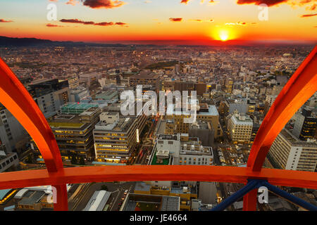 View From Kyoto Tower in Kyoto, Japan  View of Kyoto City Sunset From Kyoto Tower - Stock Photo