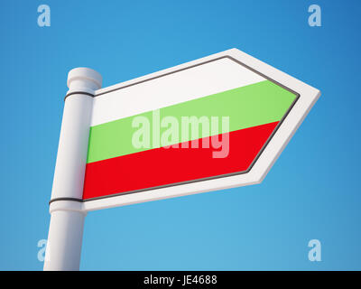 Bulgaria Flag Sign isolated on sky - Stock Photo