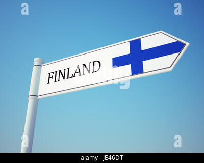 Finland Flag Sign isolated on sky - Stock Photo
