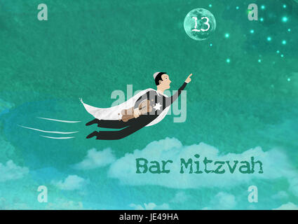 Watercolor and rasterized vector Illustration of a Jewish boy flying towards the stars and the moon holding torah - Stock Photo
