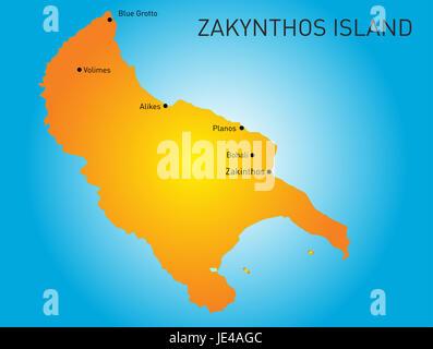 Island of Zakynthos in Greece map - Stock Photo