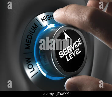 Button service level pointing the high position with blur effect plus blue and grey tones. Conceptual image for - Stock Photo