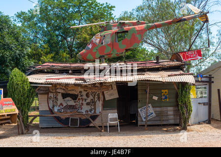 Helicopter at Daly Waters pub at Dunmarra off the Stuart Highway, NT. Australia. - Stock Photo
