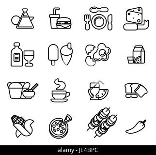 Food icon including icons for burger, cheese,  pizza, coffee and many more - Stock Photo