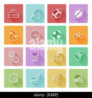 Sports icons set with icons for many sports including soccer, cricket, golf and many more - Stock Photo