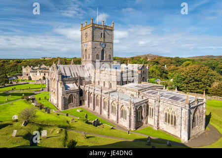 St Davids, Wales, United Kingdom - September 22, 2016: View of St Davids cathedral in South Wales - Stock Photo