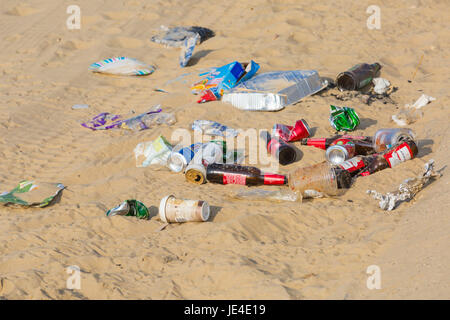 Litter rubbish left behind on the beach at Bournemouth beach, Bournemouth, Dorset UK  in June - Stock Photo