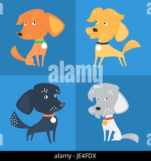 Vector Set of funny Mixed breed or mongrel dog - Stock Photo
