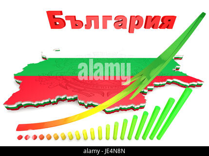 3d map illustration of Bulgaria with flag and coat of arms - Stock Photo
