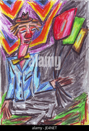 Oil pastel painting of a clown with balloons. - Stock Photo