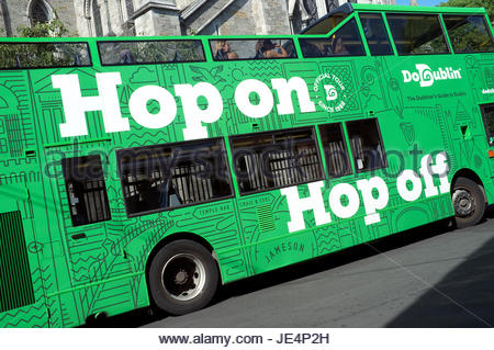 Hop on Hop off - official guided open top tour bus in Dublin, Ireland. - Stock Photo