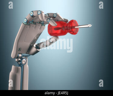 Robot hand holding a screwdriver on the concept of industrial automation. Clipping path included. - Stock Photo