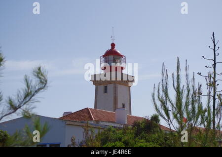 Lighthouse of Cape Carvoeiro in Lagoa. Algarve, Portugal - Stock Photo