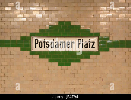 U-bahn (subway) station Potzdamer Platz in Berlin. The U-bahn serves 170 stations spread across ten lines with a - Stock Photo
