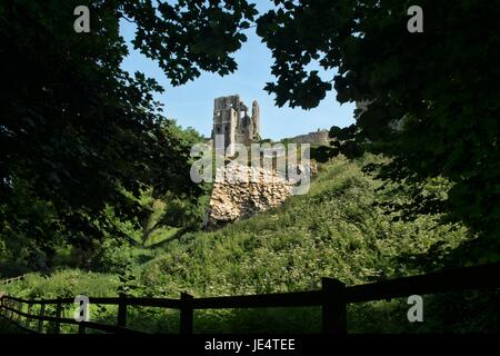 Corfe Castle in the Isle of Purbeck - Stock Photo