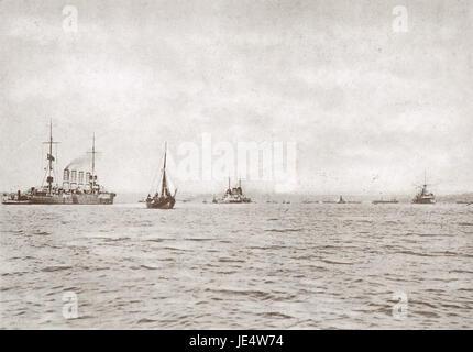 German cruisers Breslau and Goeben in Turkish waters 1914 - Stock Photo