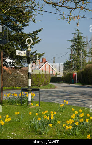 Sussex village in springtime. Daffodills out at village crossroads. - Stock Photo