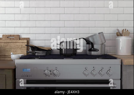 Pots and pans stacked on a stove top against a white brick wall with simple wooden cabinets on either side. 3d Rendering. - Stock Photo