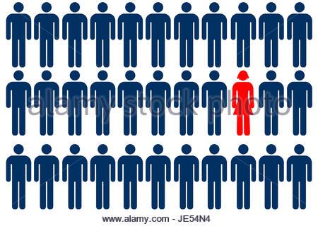 Unique female person symbol among group of male person symbols - Stock Photo