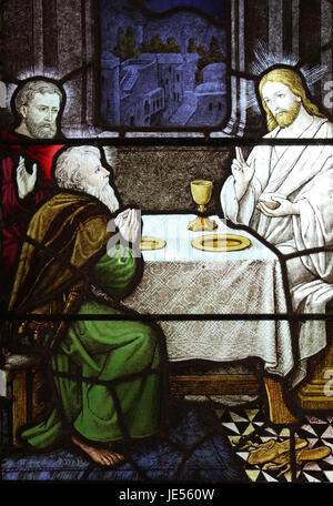 Stained Glass Window In Caerhun Church, Conwy Valley, Wale - Stock Photo