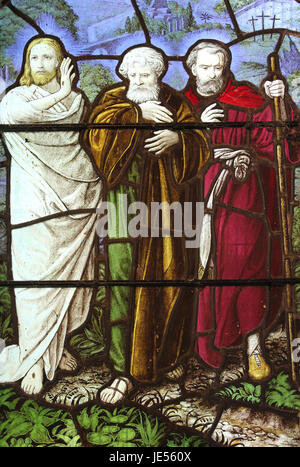 Stained Glass Window Detail, St Mary's Church Caerhun, Conwy, Wales - Stock Photo
