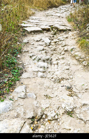 medieval footpath to fortress town chufut-kale in Crimea - Stock Photo