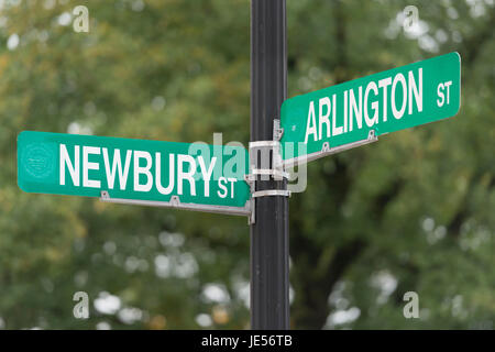 Street Sign at the Intersection of Newbury and Arlington in Boston, MA - Stock Photo