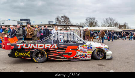 Mike Skinner in the paddock with the 2008 Toyota Tundra Super Truck, Goodwood GRRC 75th Members Meeting, Sussex, - Stock Photo