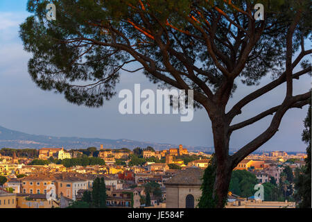 Aerial wonderful view of Rome at sunset, Italy - Stock Photo