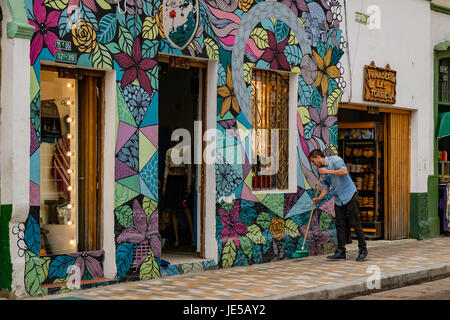 Bogota, Colombia - Colourful exterior of shops in the historic La Candelaria district of Bogota, the Capital city of Colombia in South America.