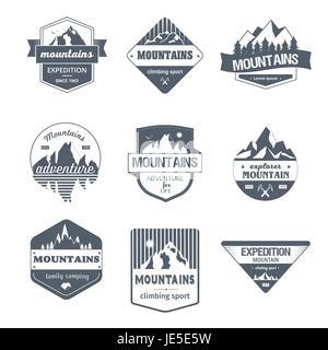 Climbing Sport - vintage vector set of logos - Stock Photo