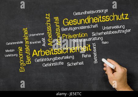 Word Cloud auf einer Tafel - Gesundheitsschutz und Arbeitssicherheit - Stock Photo