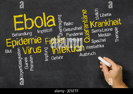 Word Cloud auf einer Tafel zum Thema Ebola - Stock Photo