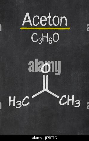 Schiefertafel mit der chemischen Formel von Aceton - Stock Photo