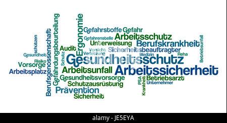 Word Cloud - Gesundheitsschutz und Arbeitssicherheit - Stock Photo