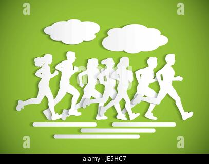 Flat running people sport maraphone cutout silhouette. - Stock Photo