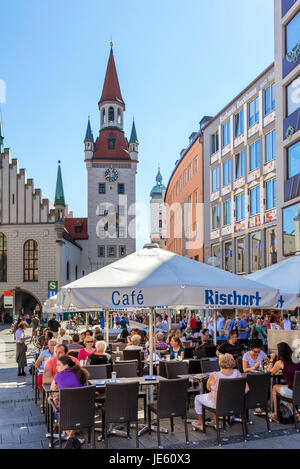 Cafe in front of the Altes Rathaus (OldTown Hall), Marienplatz, Munich, Bavaria, Germany - Stock Photo
