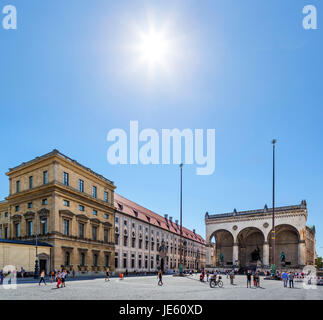Munich, Germany. Odeonsplatz looking towards the Feldernalle with the side of the Residenz to the left, Munich, - Stock Photo