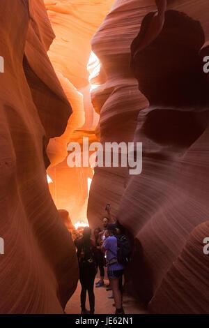 Lower Antelope Slot Canyon near the Arizona desert town of Page. - Stock Photo