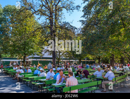 Beer Garden at the Chinesischen Turm (Chinese Tower) in the Englischer Garten, Munich, Bavaria, Germany - Stock Photo