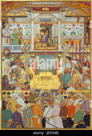 Bichitr - Padshahnama plate 10 - Shah-Jahan receives his three eldest sons and Asaf Khan during his accession ... - Stock Photo