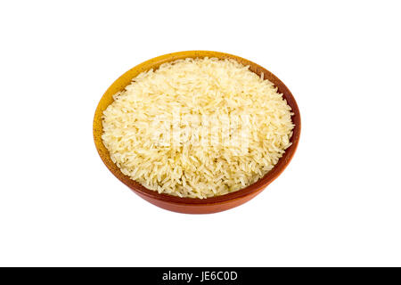 Steamed Rice in a bowl on a white background - Stock Photo
