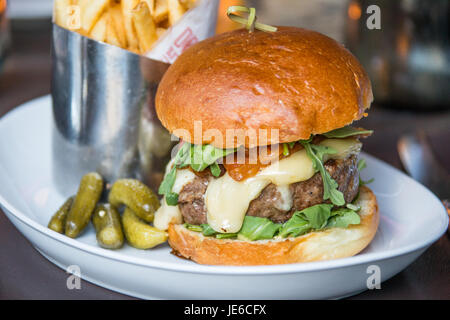 The Frenchiei Burger at DBGB Kitchen and Bar, East Village,  New York City - Stock Photo