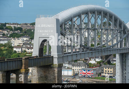 Picture by Paul Slater/PSI - Royal Albert Bridge or Brunel Bridge between Devon and Cornwall Plymouth and Saltash - Stock Photo