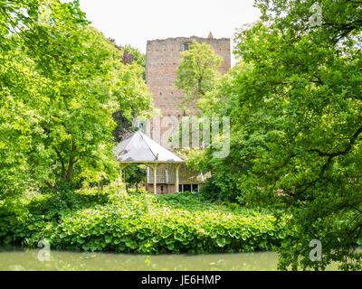 Donjon, bandstand and moat of Duurstede castle in Wijk bij Duurstede in province Utrecht, Netherlands - Stock Photo