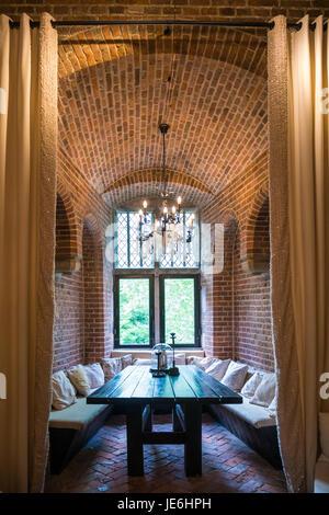 Tower room inside Burgundian tower of Duurstede castle in Wijk bij Duurstede in province Utrecht, Netherlands - Stock Photo
