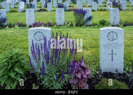 Gravesites of Canadian Infantry soldiers, Mountain View Cemetery, Vancouver, British Columbia, Canada, - Stock Photo